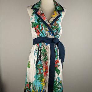 Tibi Size 4 XS Silk Wrap Animal Safari Midi Dress